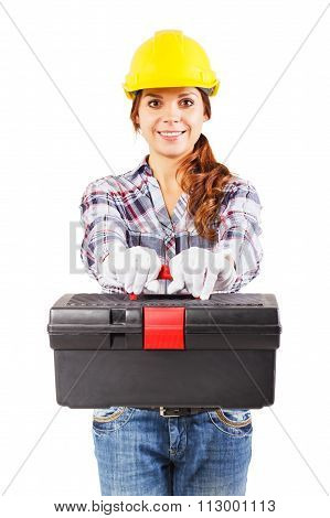 Young Woman In Construction Helmet With A Toolbox