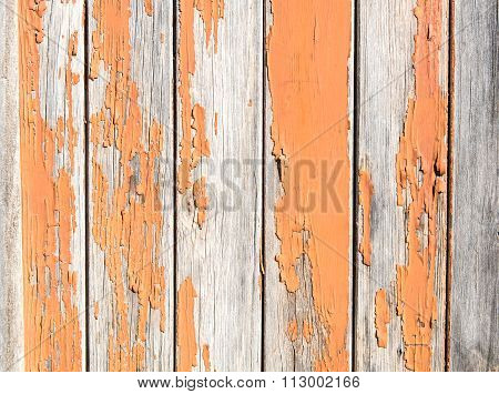 Vintage Rusty Wood Background With Orange Paint