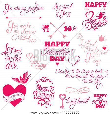 Set Of Hand Written Text: Happy Valentine`s Day, I Love You, Love In The Air, Etc. Calligraphy Eleme