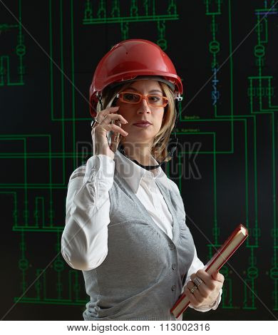 Female Operator Make Call In Power Distribution Control Center