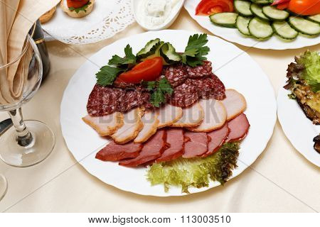Meats, Salami, Carbonate On White Dish
