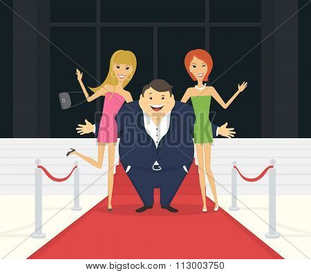 Fat famous man with his thin girlfriends on the red carpet