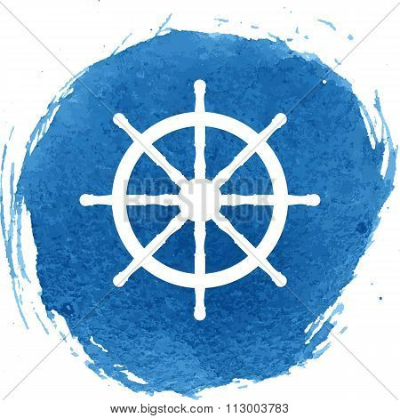ship wheel with watercolor effect