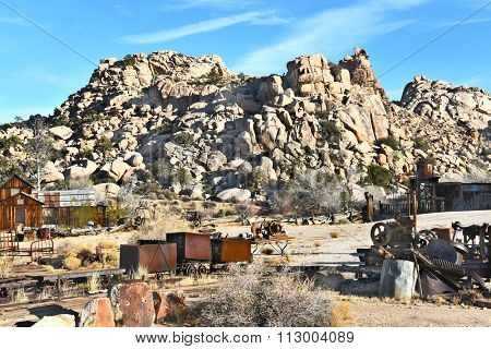 JOSHUA TREE, CALIFORNIA - JANUARY 1, 2016: Keys Ranch in Joshua Tree National Park. Shows house, barn, and objects saved by homesteader Bill Keys.