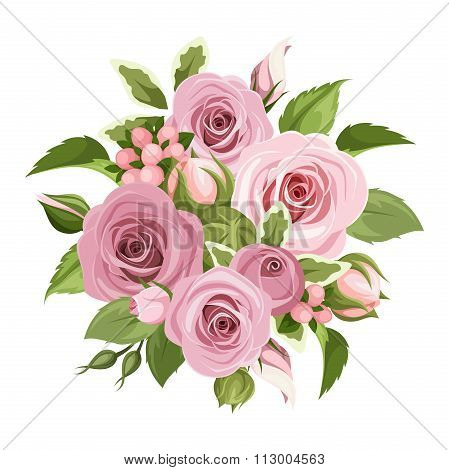 Pink roses bouquet. Vector illustration.