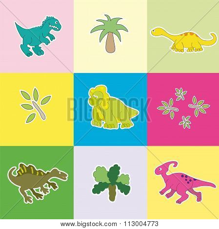 Dinosaurs In Colored Rectangles.