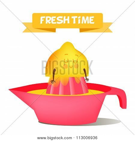 Illustration with funny characters.  Funny food. time fresh. Healthy foods. Funny carrot. Children's