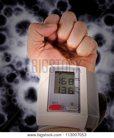 Wrist blood pressure monitor concept photograph