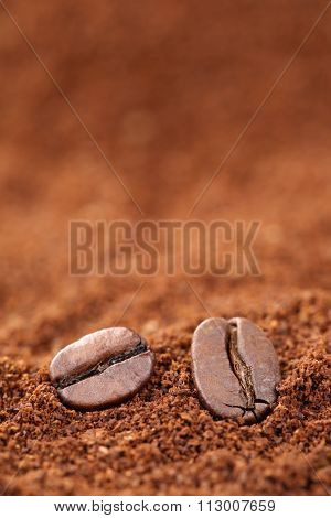Ground Coffee Beans With Copyspace