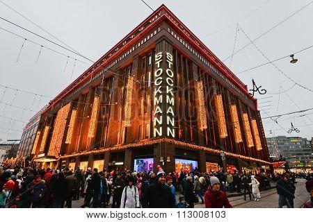 Helsinki, Finland: February, 2015 - Shoping mall Stockmann in Helsinki city center, Finland