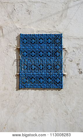 Traditional Blue Window From Kasbah Of The Udayas In Rabat.