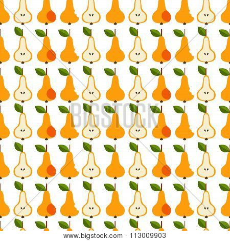 Seamless fruit background - vector pattern on the white background. Vector illustration. Funny fruit