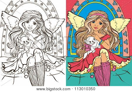 Colouring Book Of Angel Girl With Cat