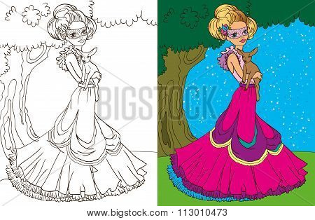 Colouring Book Of Princess In Forest