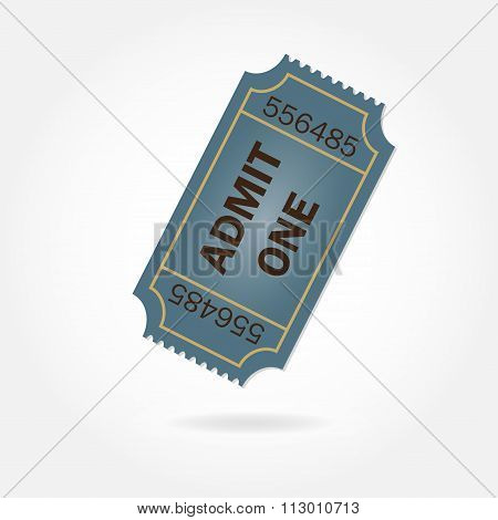 Admit one ticket isolated on white background. Vector illustration.
