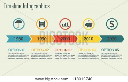 Timeline Infographics template. Isolated design elements. Vector illustration.