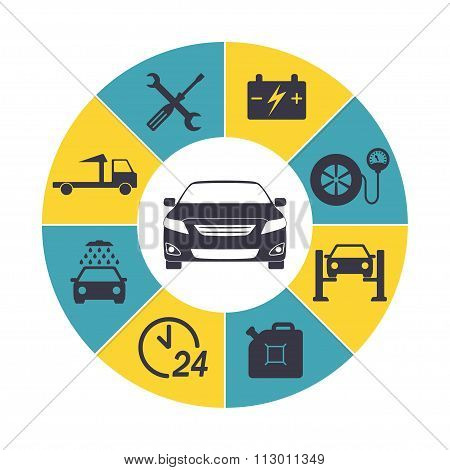 Car service Infographics. Auto service and repair icons isolated in round chart. Vector.