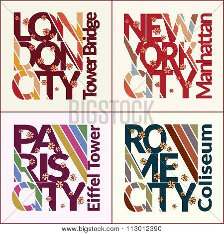 T-shirt Design Set. Nyc, London, Rome, Paris