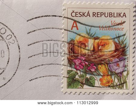 Czech Happy Easter Stamp