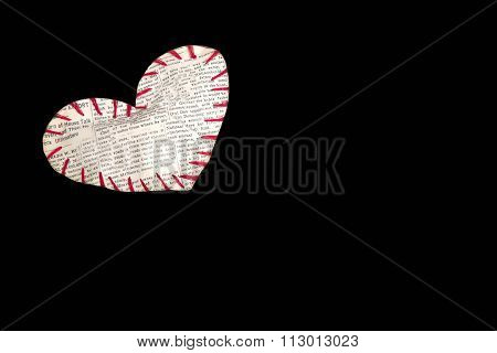 The Heart Sewed From A Newspaper Slice By Red Threads