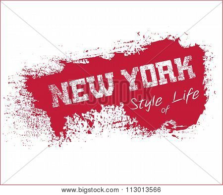 Nyc T-shirt Grunge Red
