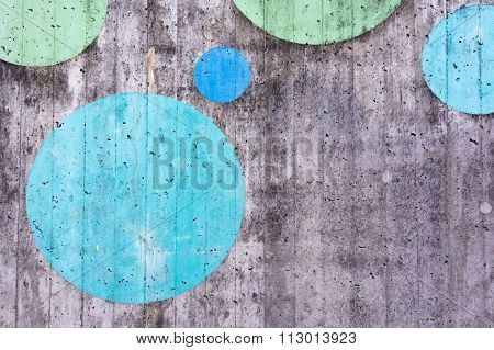 Concrete Surface Background With Painted Circles