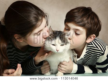Siblings Boy And Girl Kiss Siberian Fat Cat