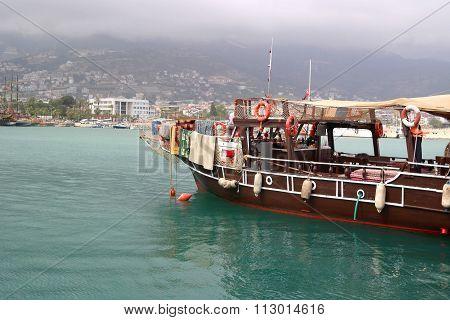 Tourist boats in port of Alanya, Turkey.