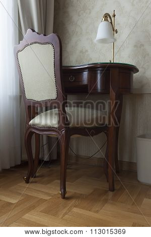 secretary table in luxury apartment