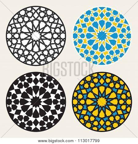 Set Of Four Vector Islamic Ornamental Rosette Circle Design Elements