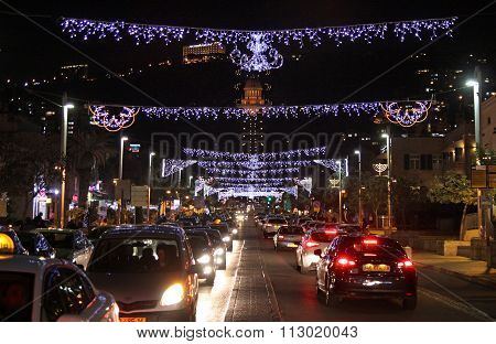 Christmas Illuminations In Haifa