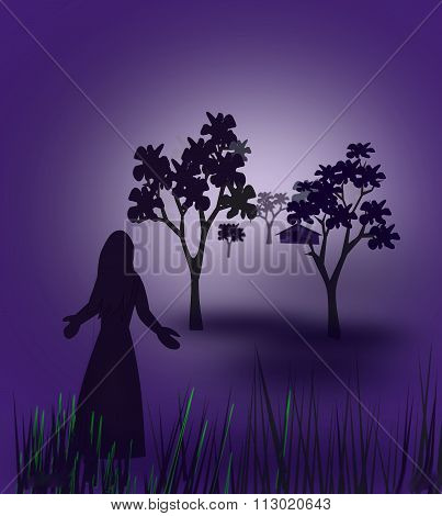 Lonely Woman in the Forest