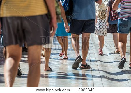 Dubrovnik, Croatia - August 26, 2015: Tourists walks at Stradun street in Dubrovnik