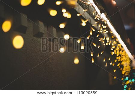 Christmas lights on the wall, selective focus