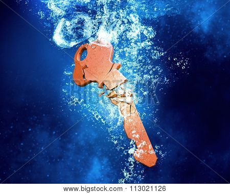 Key sinking and dissolving in clear blue water
