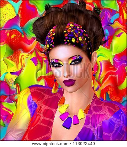3D render of Brilliant colors adorn this image of a woman that was inspired by the great Mexican artist Frieda Kahlo . This is our very own unique digital art design, loaded with bold and vibrant colors.