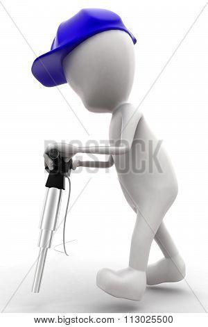 3D Man Waering Safety Helmet, Holding Jackhammer Concept