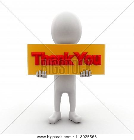 3D Man Holding A Banner And A Thankyou Text In It Concept