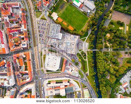 Aerial view to historic center of Pilsen with river and park. Civilization and nature. Czech Republic, Europe.