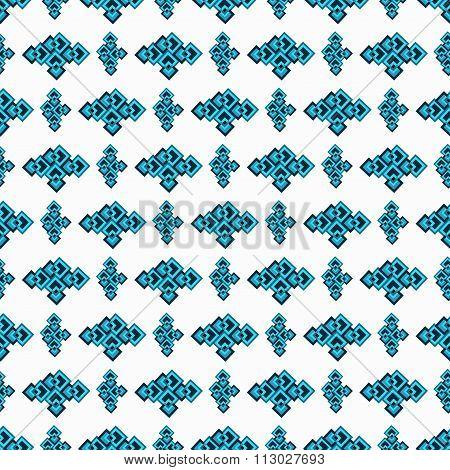 Blue Seamless Geometric Pattern On A White Background