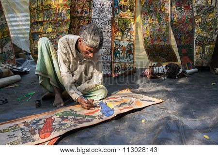 Colourful Handicraft Paintings Are Being Prepared For Sale In Pingla Village.