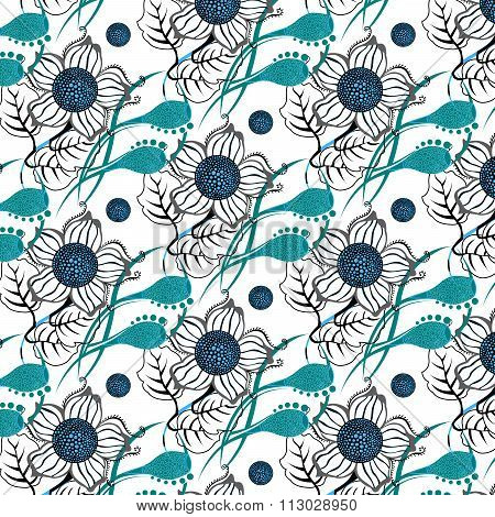 Repeating Modern Floral Background Pattern.