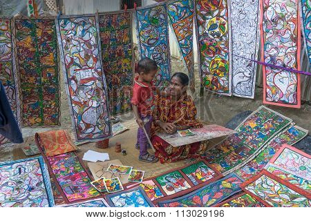 Colourful Handicrafts Are Being Prepared For Sale In Pingla Village By Indian Rural Woman Mother Wor