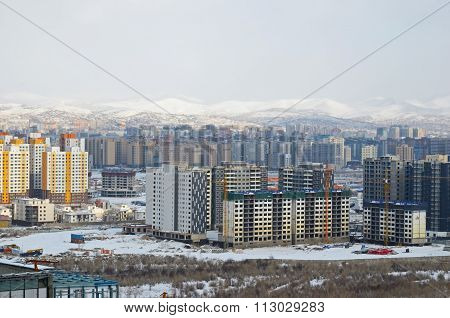 View of Ulaanbaatar from the height of the memorial complex in winter