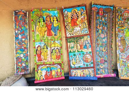 Colourful Handicrafts Are Being Prepared For Sale In Pingla Village.