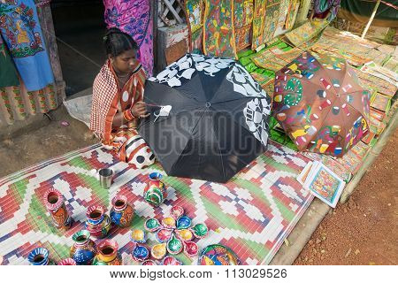 Colourful Handicrafts Are Being Prepared For Sale In Pingla Village By Indian Rural Woman Worker.