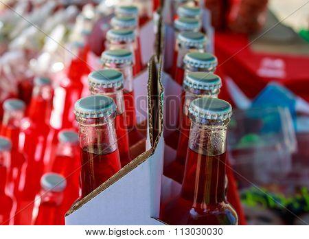Closeup Of Assorted Soda Bottles