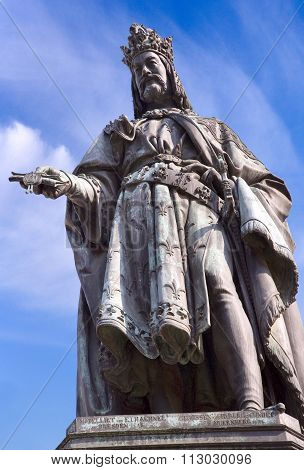 Bronze Statue Of King Of Czech And Roman Emperor Charles Iv. In Prague