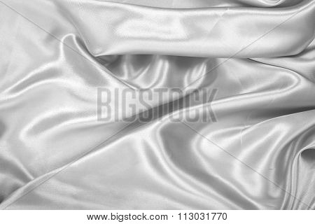 Silver Grey Fablic Satin On Background Texture.