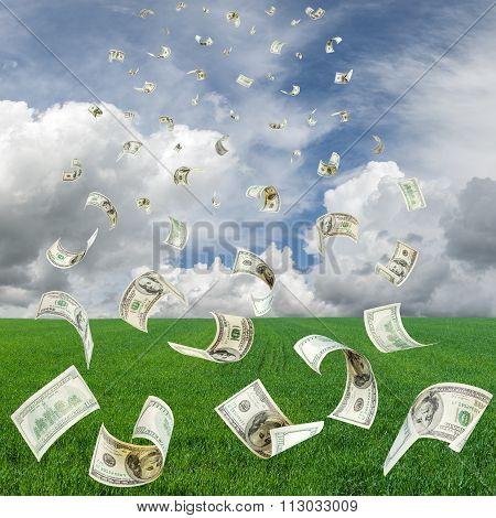 Rain from falling dollars